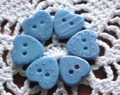 Painted Buttons Whimsical Hand Painted Blue Hearts for Sewing Knitting or Valentine's Day Crafts