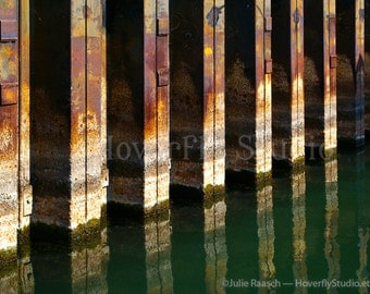 Metal and Water -- 8x10 Industrial Photograph - rust, tan, and green