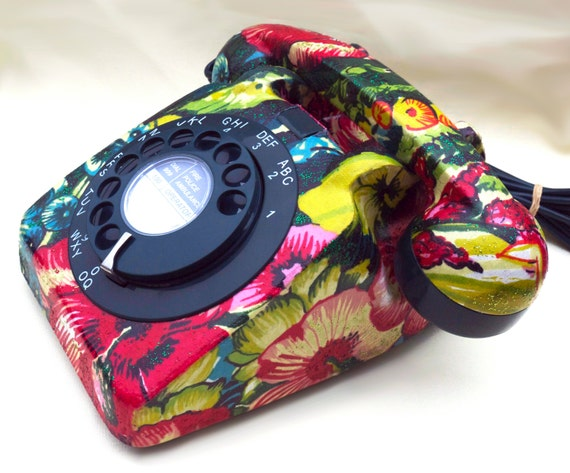 Unique Amazonia Floral Glitzed Upcycled Vintage Rotary Phone FULLY WORKING