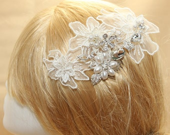Ivory Lace Pearl Rhinestone Crystal Wedding Bridal Hair Tiara Hair Comb