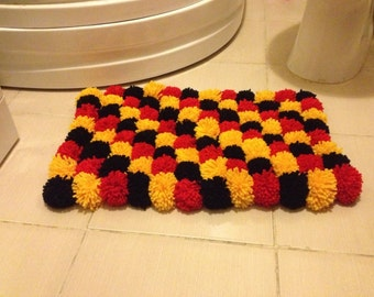 Red black yellow Pom Poms Bath Mat, Bathroom Rug,doormat,pet mat
