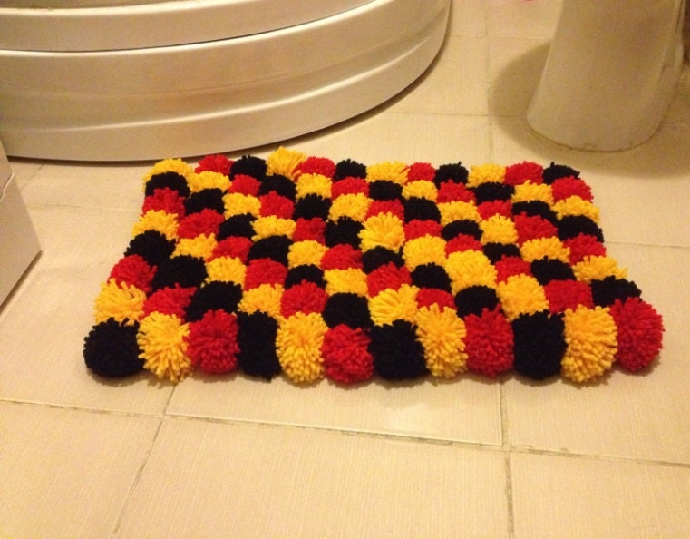 Red Black Yellow Pom Poms Bath Mat Bathroom Rugdoormatpet - Red and black bath mat for bathroom decorating ideas