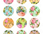 antique roses collage sheet, vintage floral 2 inch circles, flower pastel colors, printable images, instant download cupcake toppers 921