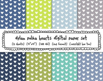 hearts digital paper set, polka hearts baby blue navy green gray photography backgrounds, instant download 482