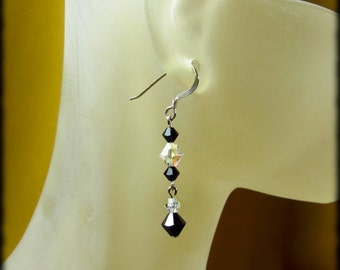 Jet Black and Clear AB Swarovski Crystal Charissa Earrings