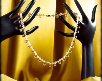 Swarovski Silk Crystal and Rose Teardrop Selena Necklace