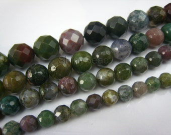 Indian agate faceted round bead 4-6mm 15 inch strand