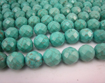 stone bead,Chinese turquoise,faceted round 12mm,15.5 inch
