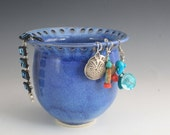 Blue jewelry bowl, A Lapis like color, Handmade on the Pottery Wheel, I use priority shipping