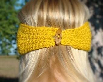 Crochet Star Stitch Headband with Button Earwarmer Peruvian Wool Honey Gold Honeycomb Yellow