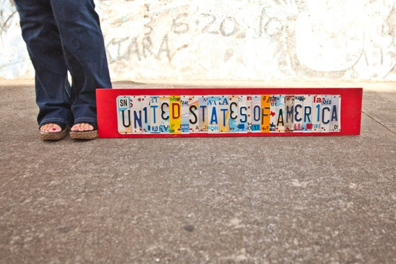 UNITED STATES of AMERICA License Plate Art, ooak, Americana, Fathers Day, Retirement, Military, Graduation, patriotic