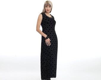 velvet dress black and silver  circles 80s long
