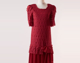 1920s Vintage Dress, Retro Red Lace, Handmade Dress, Ideal for Wedding Party, Mother of the Bride Dresses, Mother of the Groom Dresses, Boho