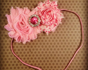 Pink with Hearts Shabby Chic Flower Headband...Adult Headbands...Baby/Infant Headbands...Hairbows