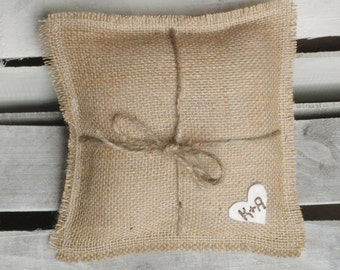 "8"" x 8"" Natural Burlap Ring Bearer Pillow w/ Jute Twine and Wool Felt Heart-Personalize w/ Initials- Rustic/Country/Shabby Chic/Folk/Wedding"