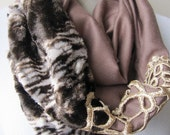 Sale- embellished infinity scarves-Brown faux fur -leopard scarf - women fashion - velvet nomad fashion
