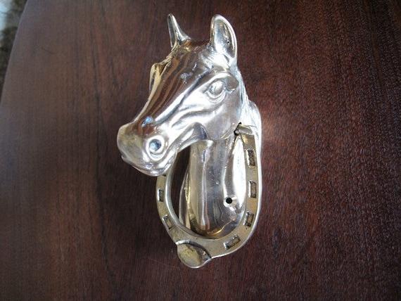 Horse brass door knocker horseshoe knocker by - Horse door knocker ...