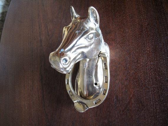 Horse Brass Door Knocker Horseshoe Knocker By Marypoppinsvintage