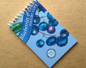 UPCYCLED NOTEBOOK YOGURT blueberry vanilla packaging recycled spiral bound journal
