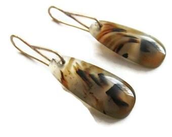 Montana Agate Earrings,  Agate Slice  Earrings Tortoise Shell Earrings