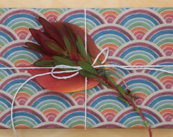 Fun Carnival Wrapping Scrapbooking or Origami Paper 'Moons' Rainbow