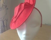 Red Sinamy and Lace Disc Fascinator on a hairband, races, weddings, special occasions, Ascot, Derby, Melbourne Cup