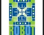 Robot Print - ROBOT 5X7 Original Artwork, Four Retro Robots