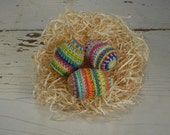 Crazy 100% Cotton Crochet Easter Eggs, Set of Three, Easter Gift, Easter Decor, Easter Basket, Multicolor, Amigurumi