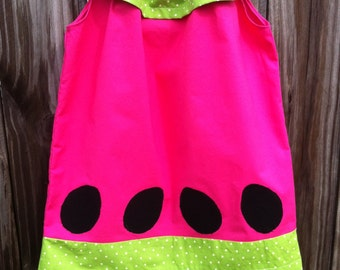 Pink Watermelon Ruffle Top Pillowcase Dress, Watermelon Outfit, Watermelon Dress, Summer Outfit, Summer Dress