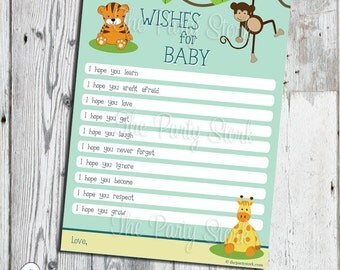 Safari Baby Shower Wishes For Baby Cards, Jungle Theme, Digital, PRINTABLE Baby  Shower