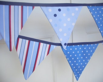 bold red, navy, blue and white, stripe, spot & star fabric flag bunting