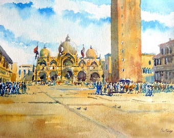 St Marks Square  Venice by John Menage Watercolour print A3 size approx 11 1/2in x 16 1/2in