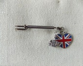 Union Jack Pin, British flag heart, Anglophile jewelry, attire for tea party,  flag of the UK, St. George's cross,  the Blue Red and White