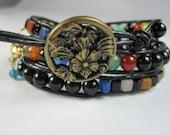 Leather Wrap Bracelet, Multicolor Wrap Bracelet, Rainbow, Gemstone Bracelet, Bohemian Style