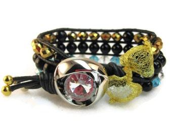 Cuff Bracelet, Crystal Bracelet, Wrap Bracelet, Gemstone Bracelet, Black Leather