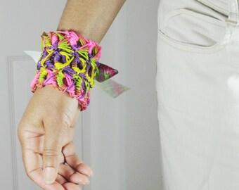 Multicolor Neon Cuff Crocheted Bracelet, Crochet, Pink, Purple, Yellow, Green