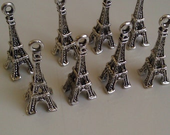 12 Eiffel Tower Antique Silver Finish Alloy Fifty Shades of Grey Charms 3D