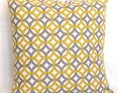 Modern Grey Decorative Pillow Cover - 18x18 or 20 x 20 inch DESIGNER Trellis Lattice Cushion Cover - Gray and Citrine Yellow Fretwork