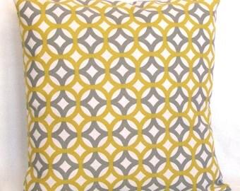Grey Yellow Pillow Cover - Designer Geometric Trellis - 18x18 or 20x20 inch Decorative Cushion Cover - Gray Citrine Yellow Lattice