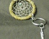Dreamcatcher leather keychain with turquoise & tibetan silver feather accent