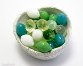 Czech Mix Fruit Beads 14mm (20) Lemon Lime Yellow Green Teal White Pressed Top-drilled Colorful Juicy For Kids Spring