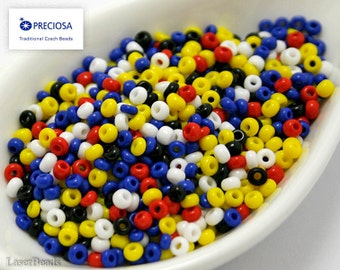 20g Czech seed bead MIX White Yellow Red Blue Black Colorful NR-19 Opaque  Mix seed beads Mixed rocailles Opaque seed beads last