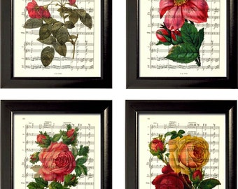Valentine Roses Set of 4 Prints on Music Sheet Pages mixed media original