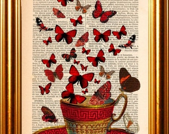 Red Cup with Red Butterflies  Print on upcycled 1880's French Dictionary Page Vintage Page Mixed Media