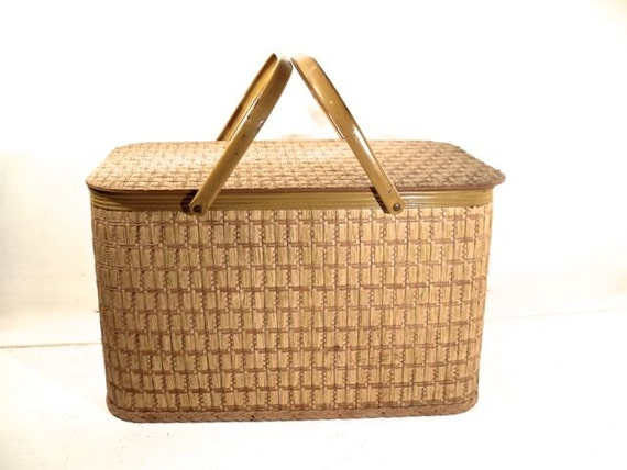 Picnic Basket Items : Items similar to vintage picnic basket wicker large redmon