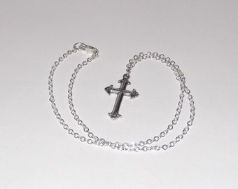 Sterling Silver Chain Necklace with Cross Pendant - CN48