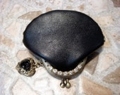 Hand sewed by me - Retro Style Purse - LOVE GRETTA - Natural leather Metal Frame Rhinestones - Vintage-look Wallet with kisslock