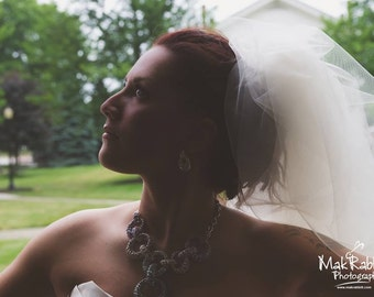 As seen in Southern Weddings Magazine Bubble veil, poofy veil with train Custom made