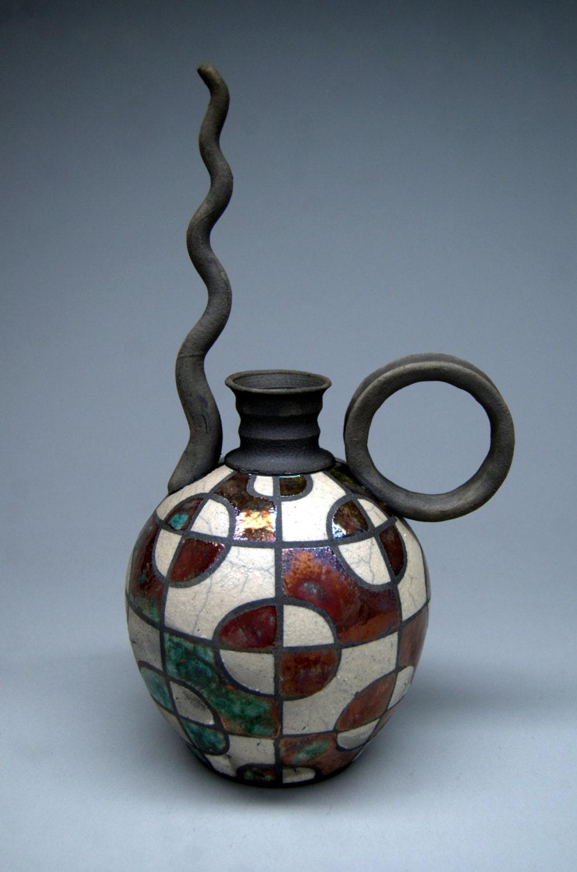 Caffeine Buzz Raku Teapot Handmade Pottery Art Gift