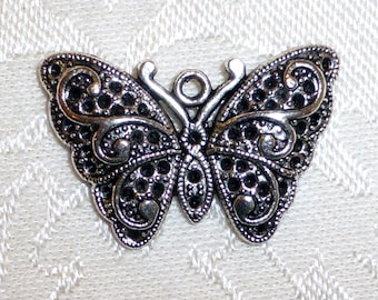 Pretty Silver Butterfly Pendants - 31mm x 20mm - TWO Pairs